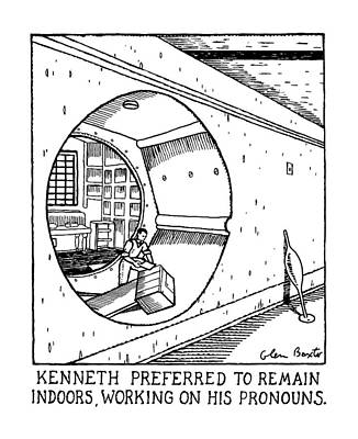 Kenneth Preferred To Remain Indoors Art Print by Glen Baxter