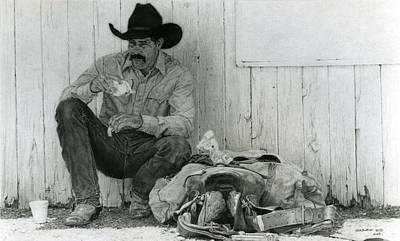 Rodeo Art Drawing - Kenneth's T' Lunch by Paul VerBurg