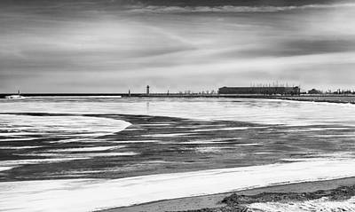 Photograph - Kenosha Lakefront In The Wintertime Black And White by Ricky L Jones