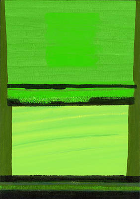 Abstract Expressionist Photograph - Kensington Gardens Series Green On Green Oil On Canvas by Izabella Godlewska de Aranda