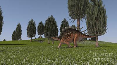 Coelophysis Digital Art - Kentrosaurus And A Coelophysis Walking by Kostyantyn Ivanyshen