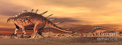Caring Mother Digital Art - Kentrosaurus Mother And Baby Walking by Elena Duvernay