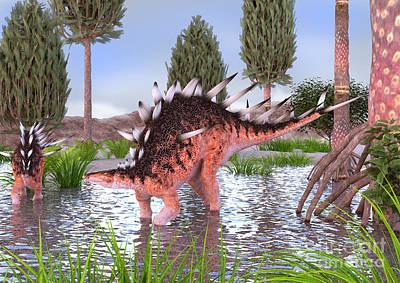Kentrosaurus Pair In Water Art Print