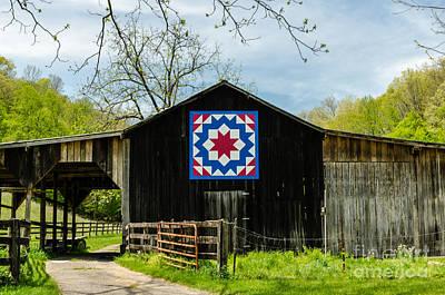 Kentucky Barn Quilt - Carpenters Wheel Art Print by Mary Carol Story