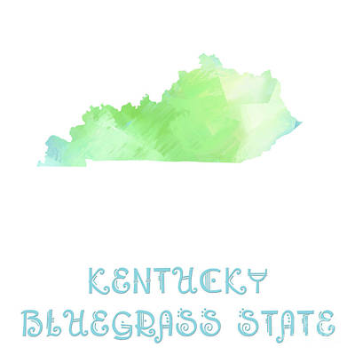 Digital Art - Kentucky - Bluegrass State - Map - State Phrase - Geology by Andee Design