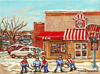 Hockey Painting - Kentucky Fried Chicken Poulet Frit Kentucky Montreal Paintings Verdun Winter City Scenes Hockey Art  by Carole Spandau