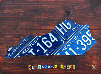 Kentucky Mixed Media - Kentucky License Plate Map The Bluegrass State by Design Turnpike