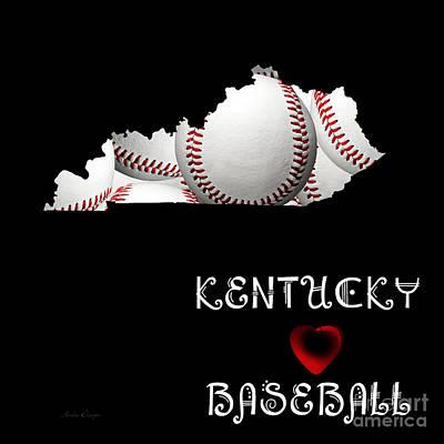 Baseball Digital Art - Kentucky Loves Baseball by Andee Design