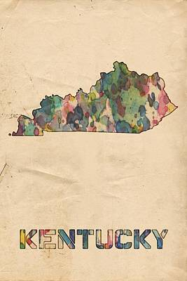 Painting - Kentucky Map Vintage Watercolor by Florian Rodarte