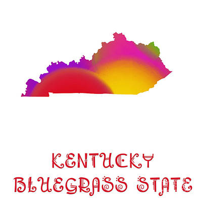 Kentucky State Map Collection 2 Art Print by Andee Design