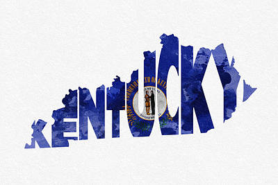 Bizarre Mixed Media - Kentucky Typographic Map Flag by Ayse Deniz