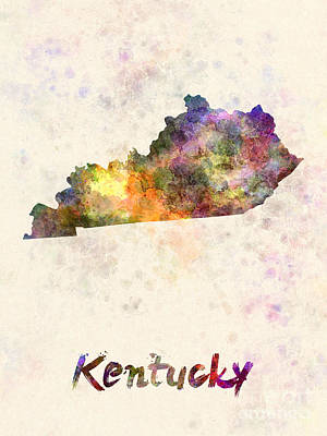 Cartography Painting - Kentucky Us State In Watercolor by Pablo Romero