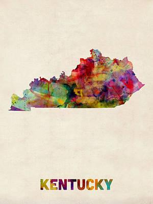 Kentucky Digital Art - Kentucky Watercolor Map by Michael Tompsett