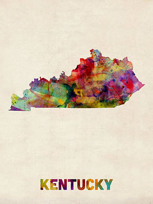 Cartography Digital Art - Kentucky Watercolor Map by Michael Tompsett