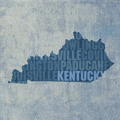 Kentucky Mixed Media - Kentucky Word Art State Map On Canvas by Design Turnpike