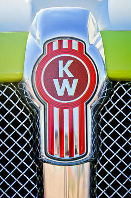 Old Car Photograph - Kenworth Truck Emblem -1196c by Jill Reger