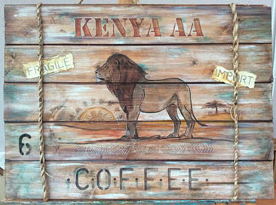 Signed Poster Painting - Kenya Aa Coffee by P.s. Art Studios