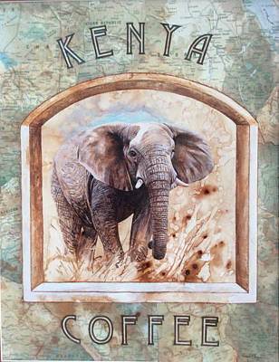 Signed Poster Painting - Kenya Coffee by P.s. Art Studios