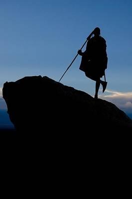 Kenya Maasai Warrior Salaton Ole Ntutu On Mountain Top With Spear Original