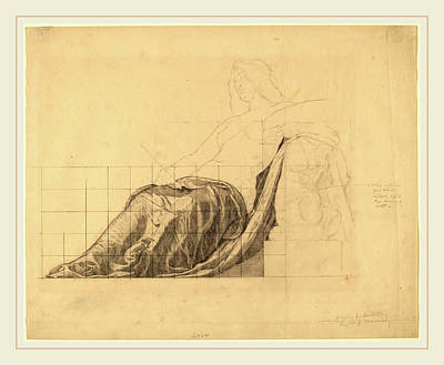 Kenyon Cox, Drapery Study For Reclining Female Study Art Print
