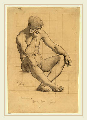 Iowa Drawing - Kenyon Cox, Seated Male Nude Study For Science-iowa State by Litz Collection
