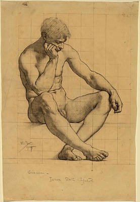 Kenyon Cox, Seated Male Nude Study For Science - Iowa State Art Print