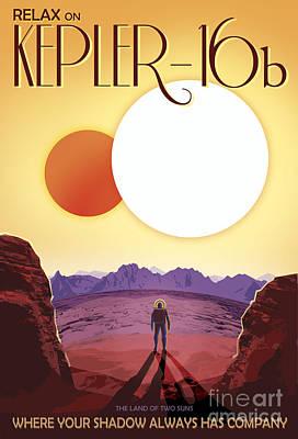 Kepler-16b Orbits A Pair Of Stars Print by Stocktrek Images