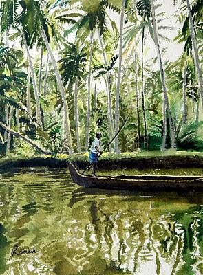 Kerala Painting - Kerala Backwaters by Ramesh Jhawar