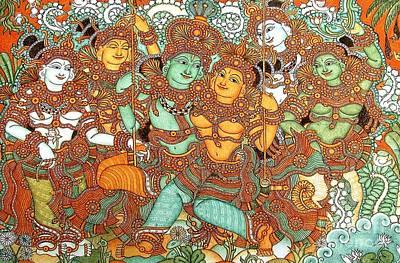 Radha Painting - Kerala Mural Painting by Pg Reproductions