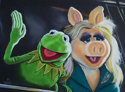 Kermit The Frog And Miss Piggy Art Print by Kevin Hubbard