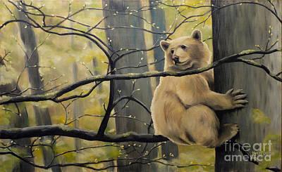 Kermode Painting - Spirit Bear Paintng by Kim Hunter