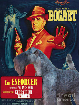 Painting - Kerry Blue Terrier Art Canvas Print - The Enforcer Movie Poster by Sandra Sij