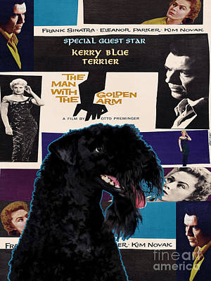 Painting - Kerry Blue Terrier Art Canvas Print - The Man With The Golden Arm Movie Poster by Sandra Sij