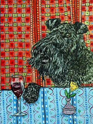 Kerry Blue Terrier At The Wine Bar Art Print by Jay  Schmetz