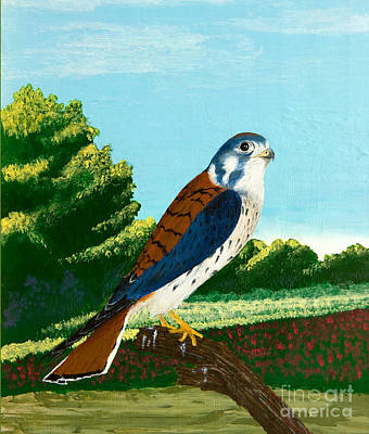 Kestrel And Flowers Art Print
