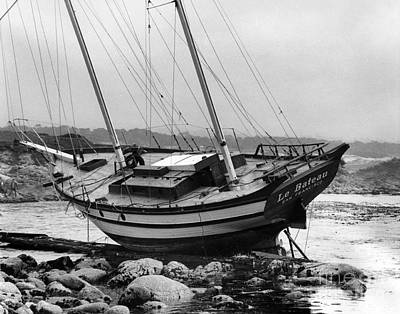 Photograph - Ketch Le Bateau Shipwreck Pacific Grove Aug. 1969 by California Views Archives Mr Pat Hathaway Archives