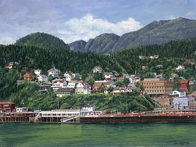 Harbor Painting - Ketchikan Alaska by Don  Langeneckert