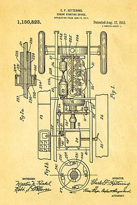 Ignition Photograph - Kettering Electric Ignition Patent Art 1915 by Ian Monk