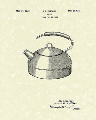 Kettle 1935 Patent Art Art Print by Prior Art Design