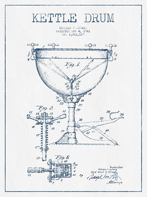 Drummer Drawing - Kettle Drum Drum Patent Drawing From 1941  - Blue Ink by Aged Pixel