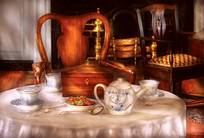 Rich Brown Frame Photograph - Kettle -  Have Some Tea - Chinese Tea Set by Mike Savad