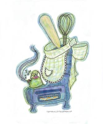 Baking Mixed Media - Kettle Warm Stove Sock V.3 by Lorraine Mullett