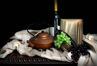 Table Wine Photograph - Kettle With Grapes by Diana Angstadt