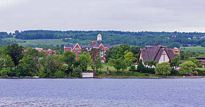 Tree Photograph - Keuka College - Ball Hall And Norton Chapel From The Lake by Photographic Arts And Design Studio