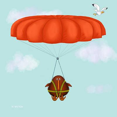 Kiwi Digital Art - Kev Hanging About by Marlene Watson