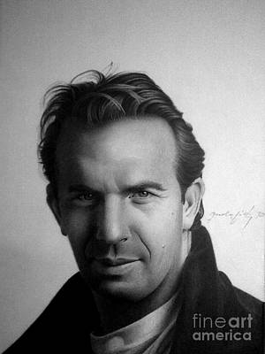 Celebrities Drawing - Kevin Costner by Miro Gradinscak