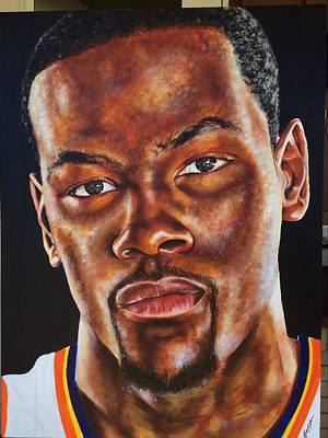 Lebron James Drawing - Kevin Durant Close Up  by Fred Simpkins