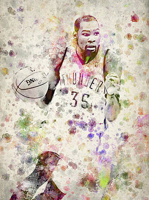 Kevin Durant In Color Art Print