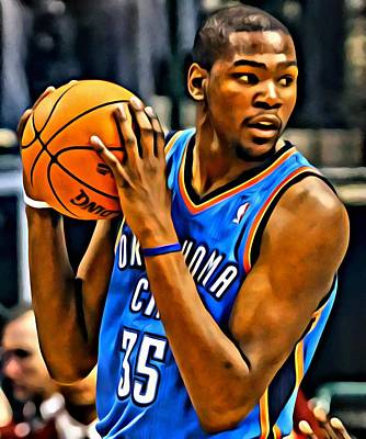 Thunder Painting - Kevin Durant Portrait by Florian Rodarte