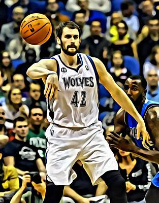 Wolf Painting - Kevin Love by Florian Rodarte